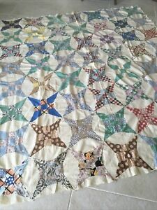 """Vintage **Handmade** Unfinished Quilt 72""""x 82"""" Glorified 9 Patch"""