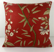 GP and J Baker Designer Cushion Cover - Peony and Blossom in Red Moss