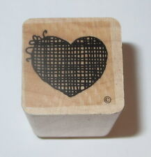 Heart Grid Rubber Stamp Close To My Heart Love Wood Mounted Bow