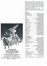 BATTLESTAR GALACTICA: PRESS & CINEMA MANAGER'S SYNOPSIS SHEET: 1978:
