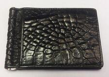 Money Clips Genuine Crocodile Wallets Alligator Skin Leather Men's Wallet Black