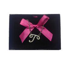 Collana iniziale T con strass in acciaio 40 cm con scatolina regalo by VIRCA
