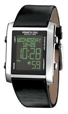 Kenneth Cole Reaction  KC1411  Multifunction Digital Black Leather Strap Watch