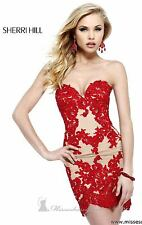 21187 Sherri Hill Red Crystal Lace Party Cocktail Prom Gown Dress Size USA 6