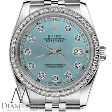 Ice Blue Rolex 36mm Datejust Watch Diamond Accent Dial & Bezel with a Track