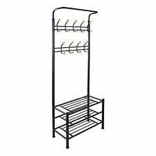 Black Metal Multi Function Shoe and 18 Hook Coat Storage Rack Hanger Hooks Stand