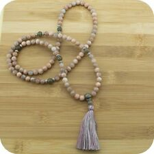 Peach Moonstone Mala Beads Necklace with Labradorite