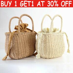 Retro Wicker Women Handbag Bags Totes Summer Beach-Straw Woven Rattan Basket JP