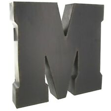 Rustic BROWN Metal Letter - M. Distressed paint & an aged patina finish around.