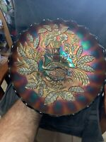 Stunning Northwood Amethyst Purple Peacock and Urn Large Master ICS Bowl!!!!!
