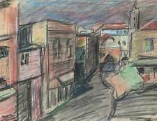 ADELE REIFENBERG Pastel Drawing IMPRESSIONIST CONTINENTAL STREET c1930