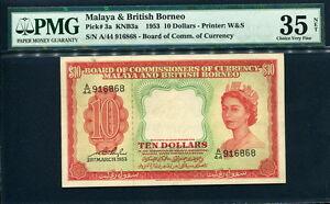 Malaya & British Borneo 1953, 10 Dollars, 916868, P3a, PMG 35 NET VF