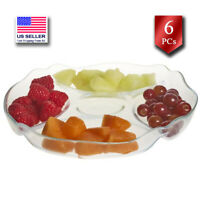 Pasabahce Glass Divided Serving Tray, Clear Relish Dish, 5 Section Platter, 11in