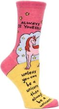 Blue Q Women's Humorous Crew Combed Cotton Socks Always Be Yourself Unicorn