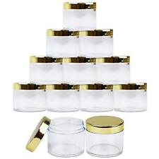 12 Pieces 2Oz/60g/60ml HQ Acrylic Leak Proof Clear Container Jars with Gold Lid