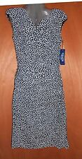 CHAPS WOMEN'S DRESS SIZE L DRAPE NWT Short sleeve Black White polka dot Formal