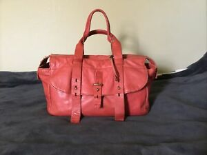 Lucky Brand Orange Genuine Leather Double Handle  Purse /handbag