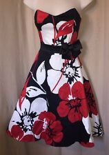 Debenhams Floral 50s Rockabilly Full Circle Cotton Retro Dress s 10 used once