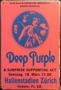 DEEP PURPLE HALLENSTADION ZURICH RUSTY CLASSIC ROCK MUSIC TIN SIGNS (20x30cm)