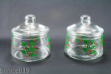 Vintage Christmas Holly & Berry Clear glass Canisters with lids  set of 2