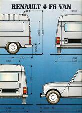 Renault 4 F6 Van 1984-86 UK Market Sales Brochure
