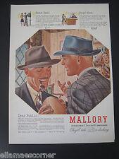 1940 Mallory Hats Original Print Ad