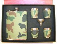CAMOUFLAGE WRAP FLASK SET W SHOT GLASS hunting como NEW liquor container holder