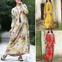 Plus Size Women's Boho Long Sleeve Floral Cotton Linen Long Maxi Dress I7L3