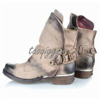 Vintage Shoes Womens Western Buckle Round Toe Ankle Cowboy Punk Boots Fashion Sz