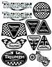 Set 11 Vinile Adesivi Triumph Speed Triple UK Vinyl Sticker Auto Moto Casco Bici