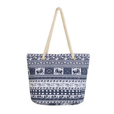 Premium Large Tribal Elephant Floral Print Canvas Tote Shoulder Bag Handbag