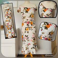 KAREN MILLEN 2 Piece Skirt & Top SIZE 12 White  Floral Summer Party WEDDING