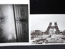 2 vintage photo postcards Eiffel Tower PARIS 2 views 1931 1888 construction