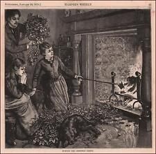 BURNING CHRISTMAS GREENS, Evergreen Decorations Burned after Holidays 1876
