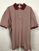 """Southern Tide Skipjack Men""""s Polo Golf Shirt Size Large Red & White Striped"""