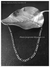 Chaîne Maille Figaro Longue 60 cm Argent Massif 925/1000 Bijoux Homme NEUVE