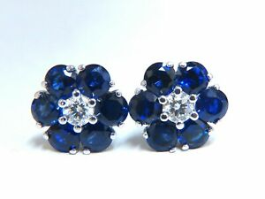 5.62ct Natural Sapphire Diamonds Floretta Cluster Snowflake Earrings 14 Karat