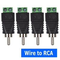 4pcs Speaker Wire Cable to Audio Male RCA Connector Adapter Jack Plug Set *#