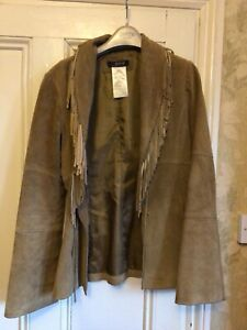 TAN LEATHER JACKET WITH FRINGING SIZE 10 MORGAN DE TOI