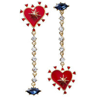 Korean Sweet Asymmetric Red Heart Rhinestone Long Chain Love Tassel Earrings