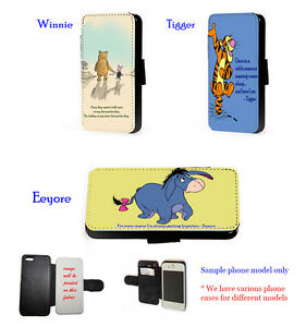 Winnie Tigger Eeyore Cute Quote leather phone case for iPhone Samsung