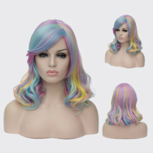 New Women Wig Multicolor Wig Partial Wig Long Curly Cosplay Wig+Wig Cap