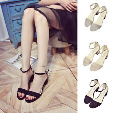 Leather Chunky Heeled PU SandalS Open Toe One Strap Ankle Strap Woman Shoes SH