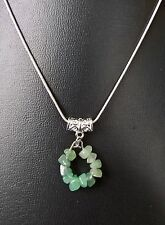 "LIBRA GREEN AVENTURINE ZODIAC PENDANT ON 16"", 18"", 20"" SILVER PLATED CHAIN"