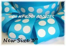 "3"" TURQUOISE WHITE CLASSIC JUMBO CAT DOTS GROSGRAIN RIBBON 4 TIC TOC HAIRBOW BOW"