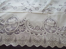 """New Vintage 90x60"""" Scranton type lace Victorian Floral tablecloth Roses Ivory"""
