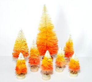 LOT 8 Mini CANDY CORN HALLOWEEN Miniature Ombre Sisal Bottle Brush Trees