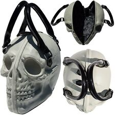 White Skull Purse Goth Chic Style Kreepsville Latex Bowler Bag Halloween Handbag