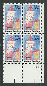 US 2108 @ (1984) MNH - XF {Plate Block} Season's Greetings