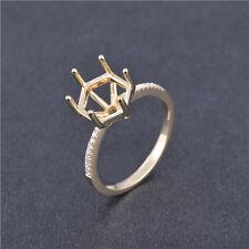 Round Cut 9.5Mm Solid 14K Yellow Gold Natural Diamond Setting Semi Ring Mount